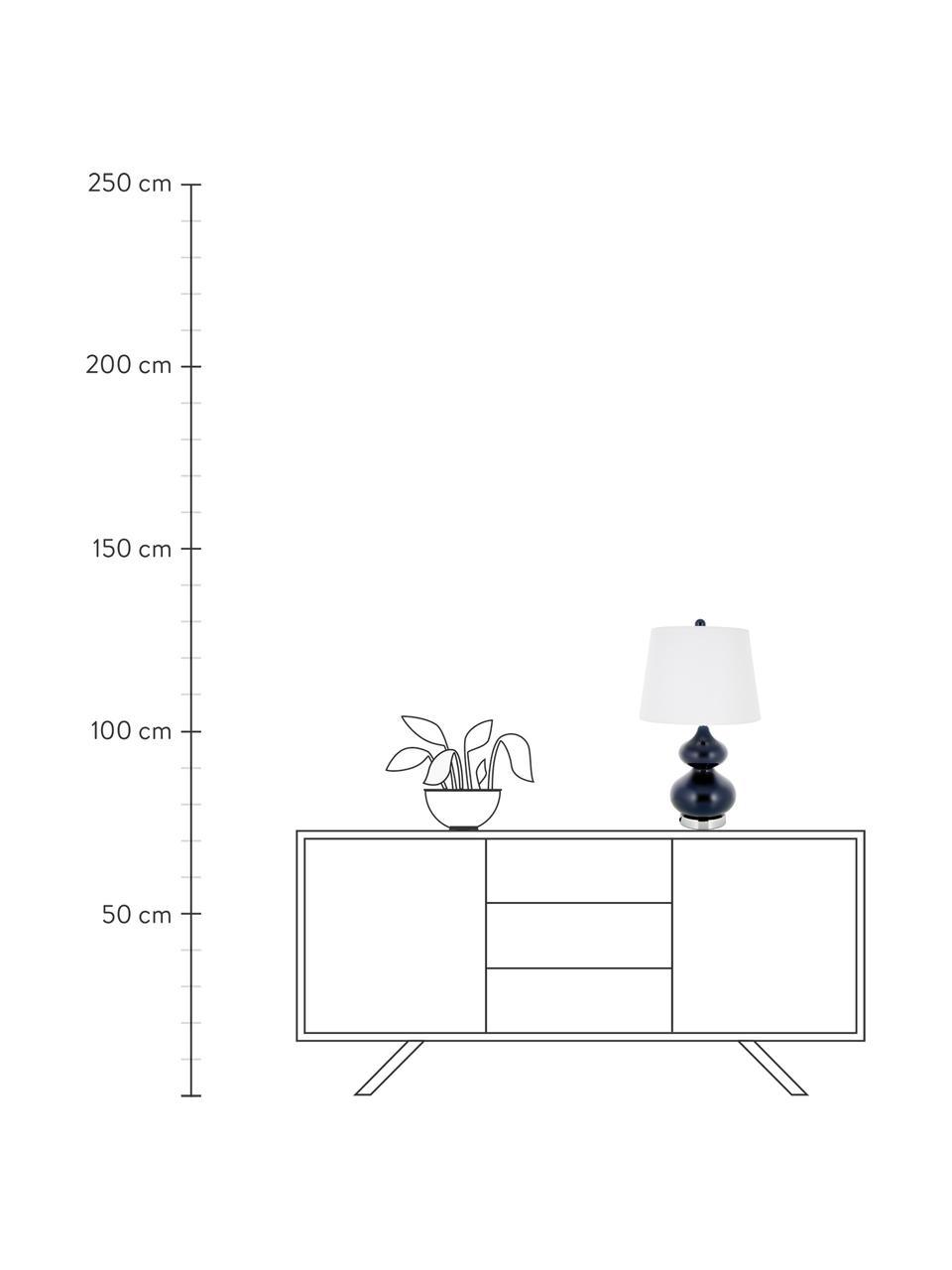 Grote tafellampen Felicitas,  2 stuks, Lampenkap: katoen, Lampvoet: gelakt glas, Voetstuk: metaal, Blauw, Ø 35 x H 58 cm