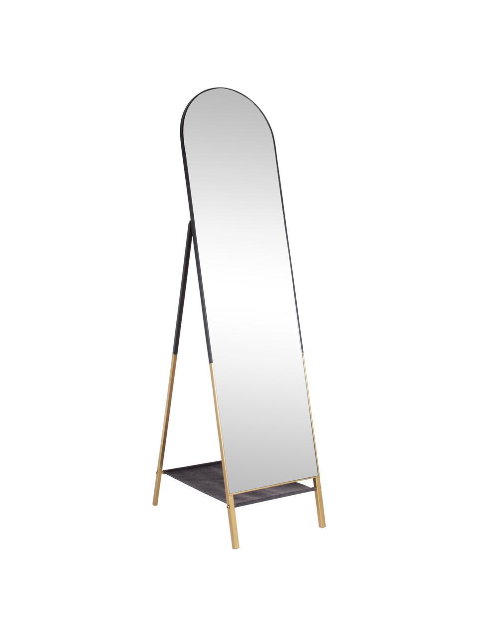 Standspiegel Reflix mit schwarzem Holzrahmen, Rahmen: Metall, beschichtet, Spiegelfläche: Spiegelglas, Schwarz, Goldfarben, 42 x 170 cm