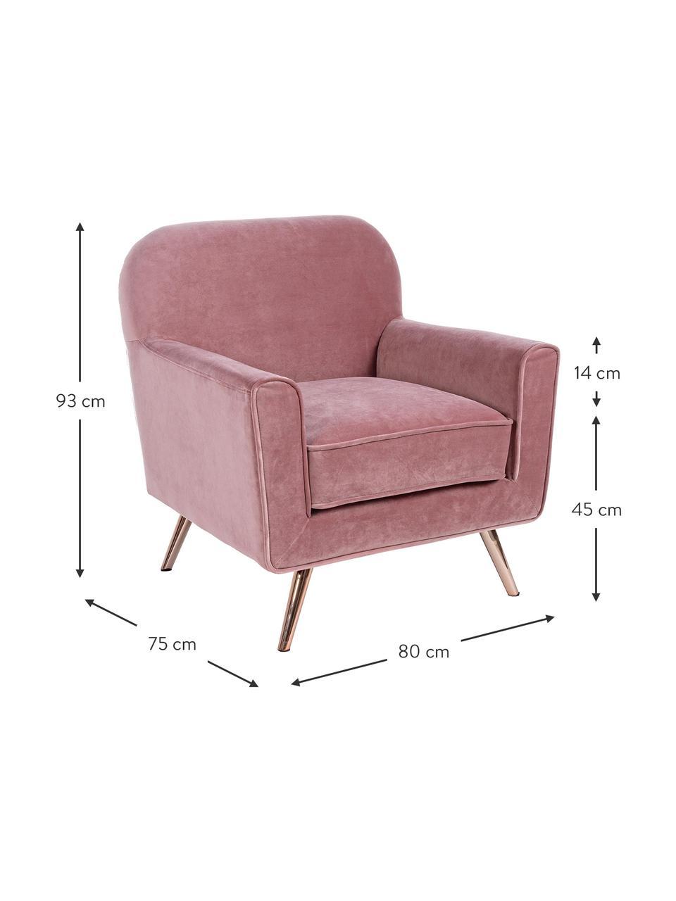 Fotel z aksamitu Lydia, Tapicerka: aksamit poliestrowy, Nogi: metal powlekany, Różowy, S 80 x G 75 cm