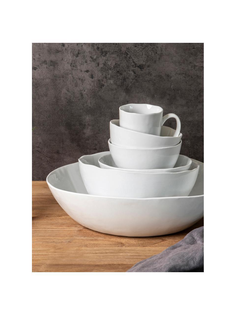 Kommen Porcelino met oneven oppervlak, 6 stuks, Porselein, bewust ongelijk, Wit, Ø 15 x H 8 cm
