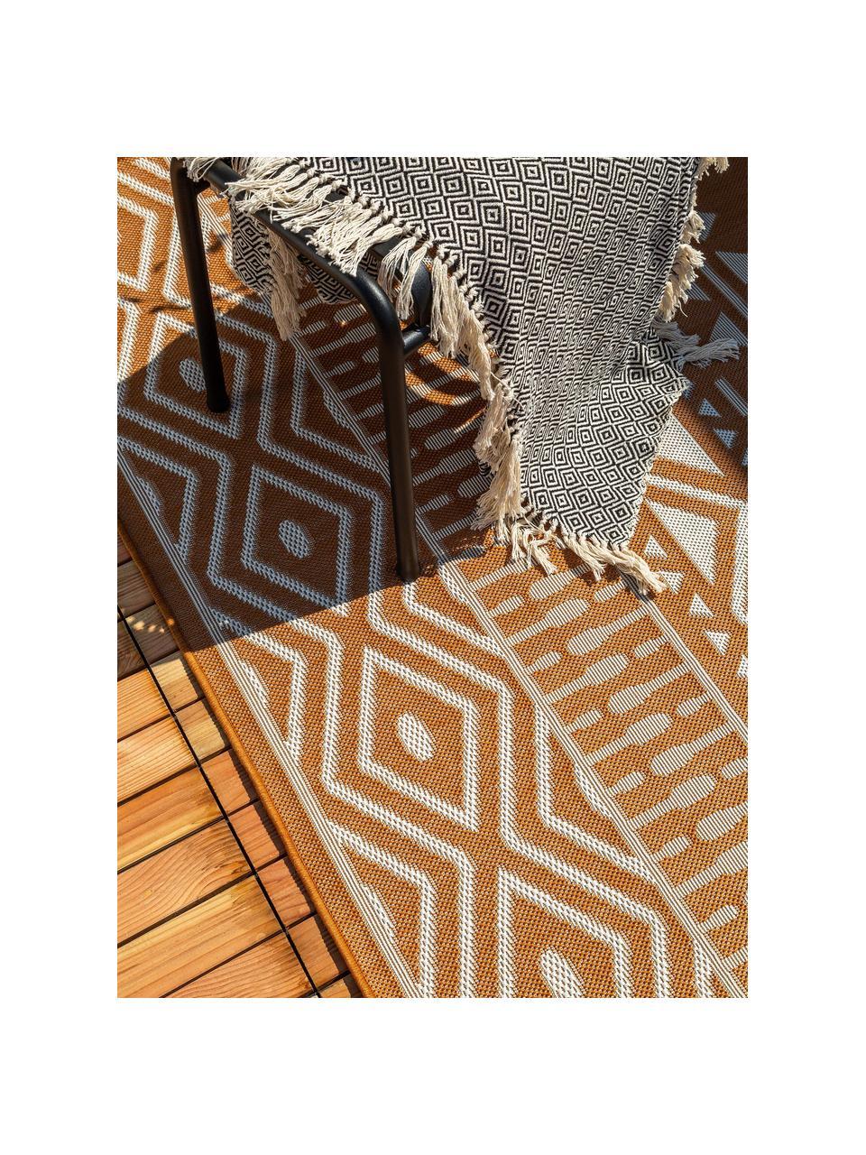 In- & Outdoor-Teppich Nillo mit Ethnomuster, 100% Polyethylen, Orange, Creme, B 120 x L 170 cm (Größe S)