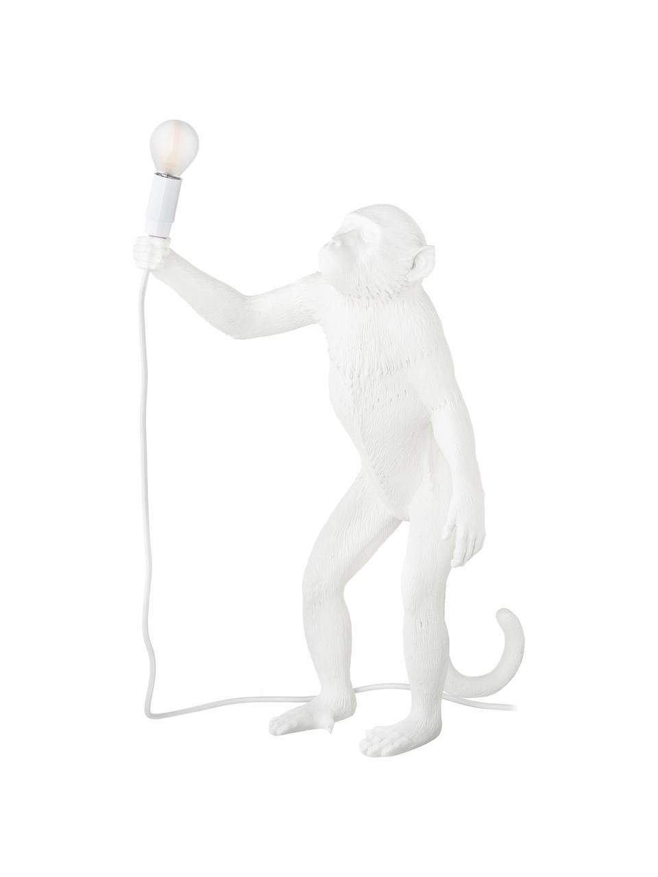 Große Design Tischlampe Monkey, Weiß, 46 x 54 cm
