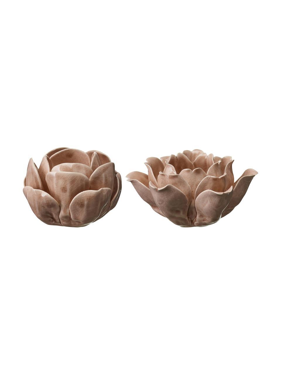 Komplet świeczników Sally, 2 elem., Porcelana lakierowana, Blady różowy, Komplet z różnymi rozmiarami