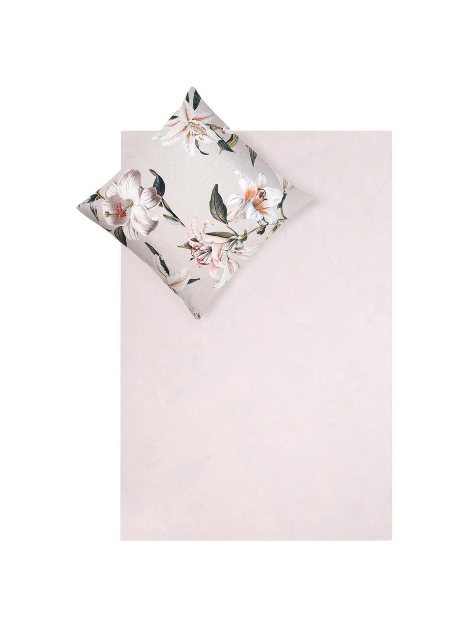 Baumwollsatin-Bettwäsche Flori in Beige mit Blumen-Print, Webart: Satin Fadendichte 210 TC,, Vorderseite: Beige, Cremeweiß Rückseite: Beige, 240 x 220 cm + 2 Kissen 80 x 80 cm