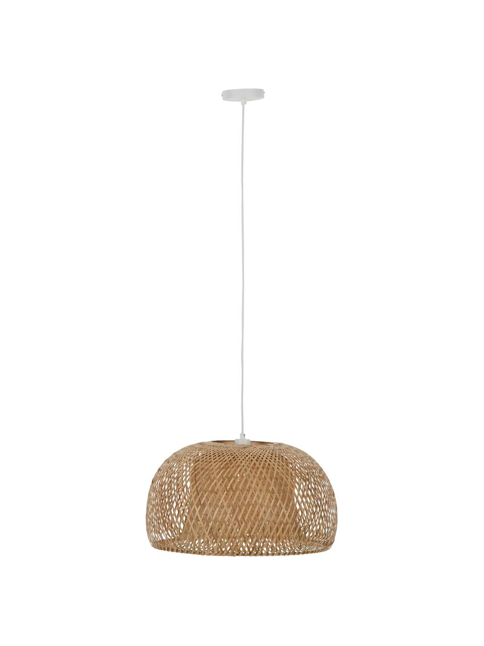 Design Pendelleuchte Eden aus Bambus, Lampenschirm: Bambus, Baldachin: Metall, Bambus, ∅ 55 x H 27 cm