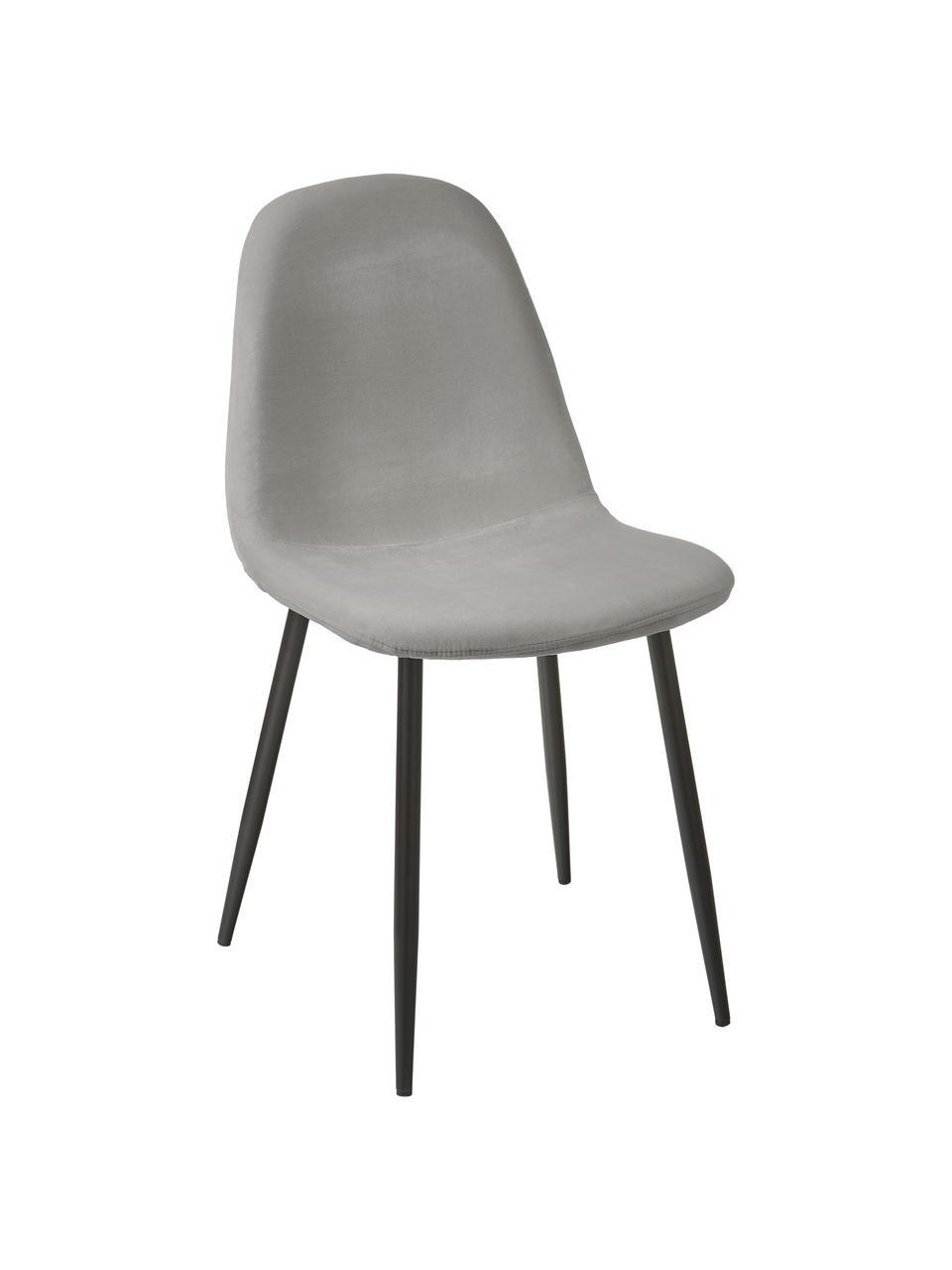 Sedia imbottita in velluto grigio Karla 2 pz, Rivestimento: velluto (100% poliestere), Gambe: metallo verniciato a polv, Velluto grigio, Larg. 44 x Alt. 53 cm
