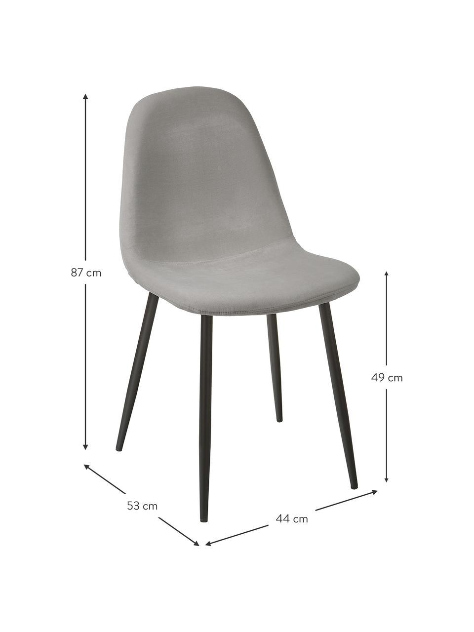Samt-Polsterstühle Karla in Grau, 2 Stück, Bezug: Samt (100% Polyester) Der, Beine: Metall, pulverbeschichtet, Samt Grau, B 44 x T 53 cm