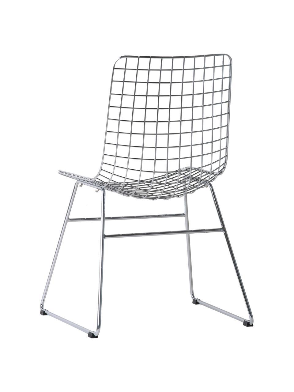 Metall-Stuhl Wire in Chrom, Metall, verchromt, Chrom, B 47 x T 54 cm