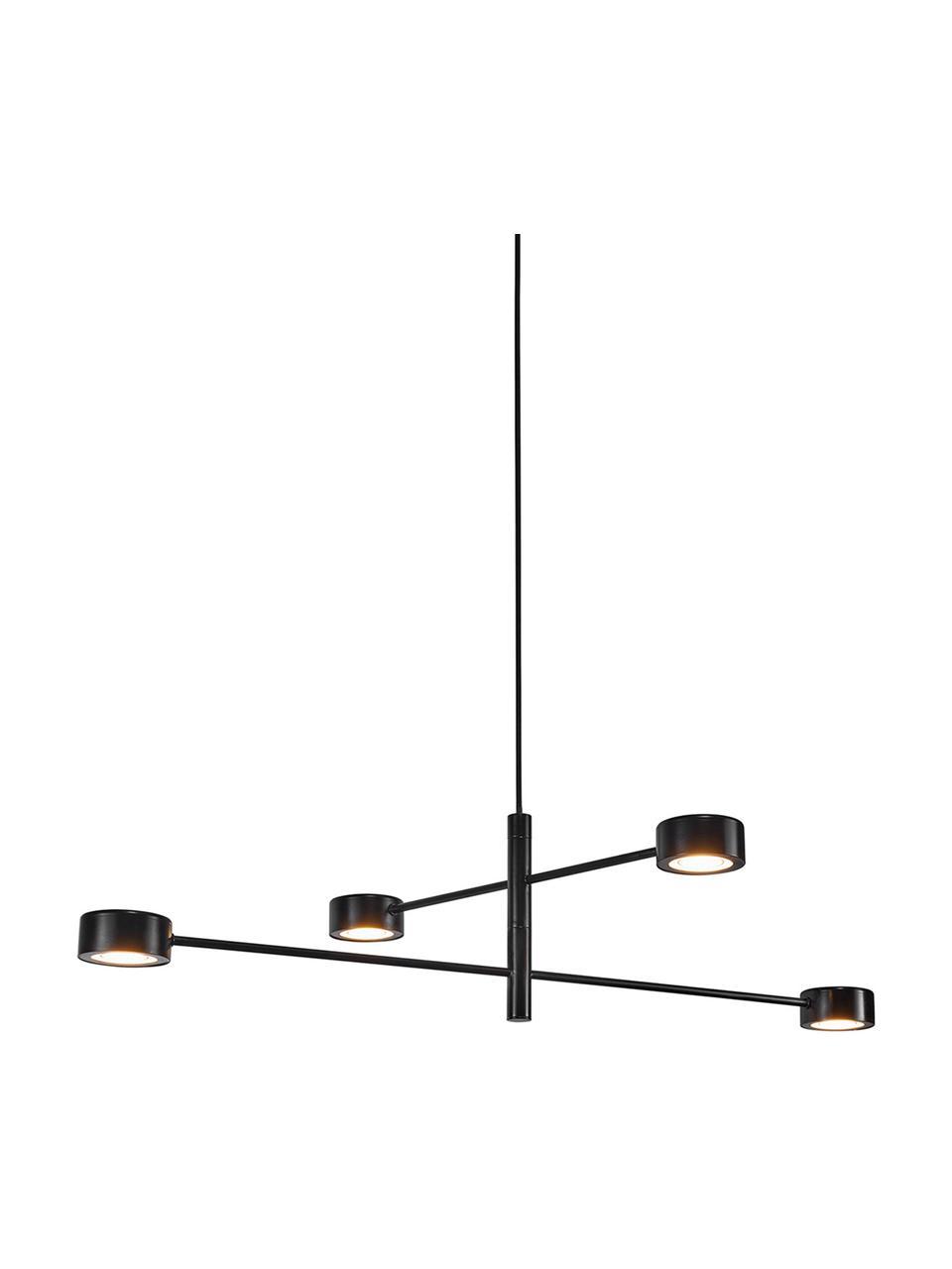 Große Dimmbare LED-Pendelleuchte Clyde, Lampenschirm: Metall, beschichtet, Baldachin: Metall, beschichtet, Schwarz, B 90 x H 22 cm