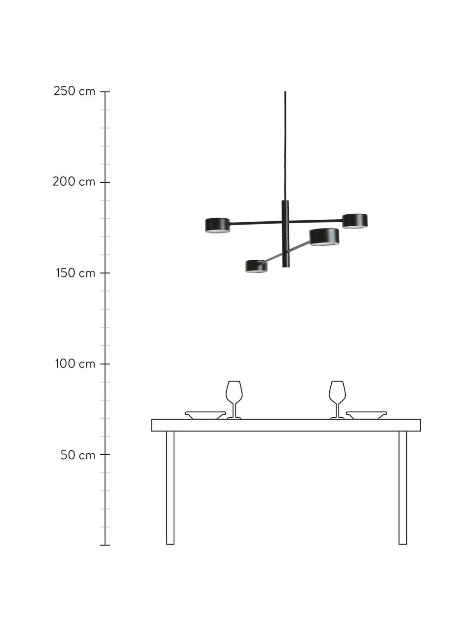 Grote dimbare LED hanglamp Clyde, Lampenkap: gecoat metaal, Baldakijn: gecoat metaal, Zwart, 90 x 22 cm