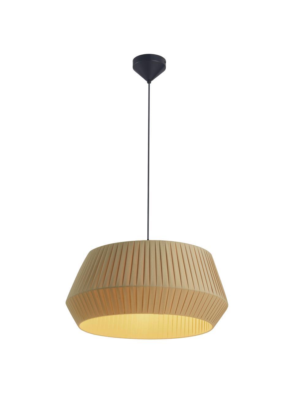 Klassische Pendelleuchte Dicte aus Faltenstoff, Lampenschirm: Stoff, Baldachin: Metall, beschichtet, Beige, Schwarz, Ø 53 x H 29 cm