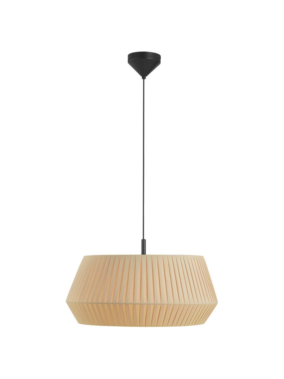 Klassieke hanglamp Dicte van geplooide stof, Lampenkap: stof, Baldakijn: gecoat metaal, Beige, zwart, Ø 53 x H 29 cm