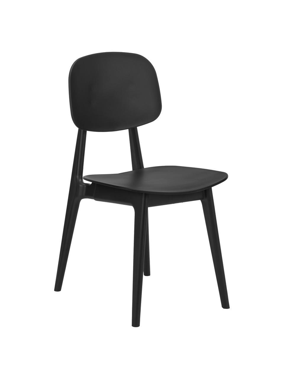 Krzesło z tworzywa sztucznego Smilla, 2szt., Nogi: metal malowany proszkowo, Czarny, matowy, S 43 x G 49 cm