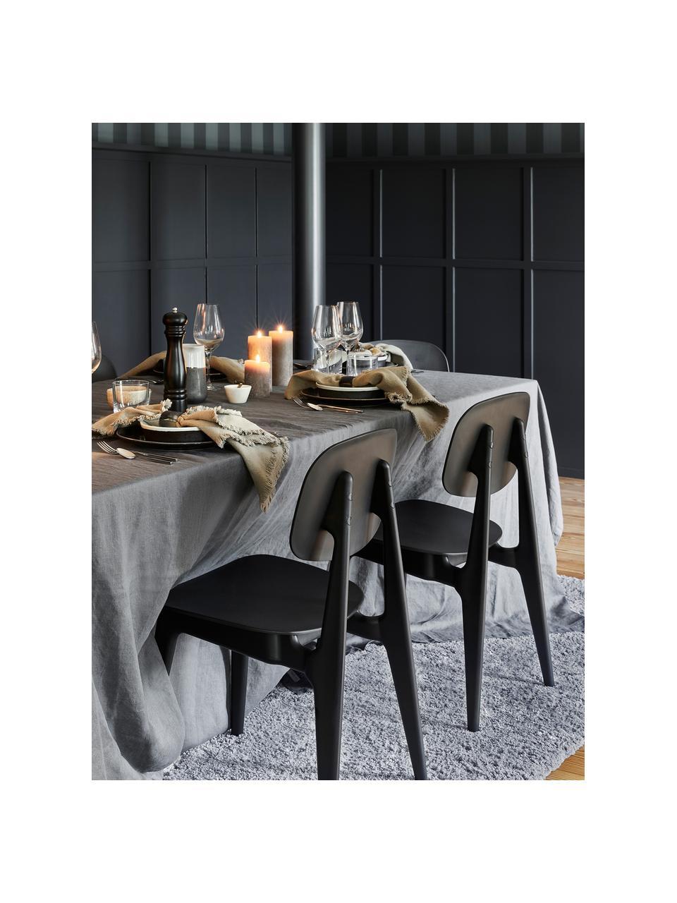 Kunststoffen stoelen Smilla, 2 stuks, Zitvlak: kunststof, Poten: gepoedercoat metaal, Mat zwart, B 43 x D 49 cm