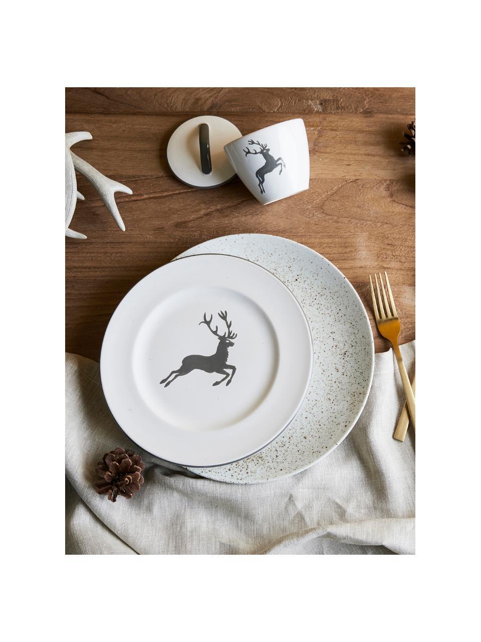Handbeschilderde suikerpot gourmet Grey Deer, Keramiek, Grijs, wit, Ø 9 cm