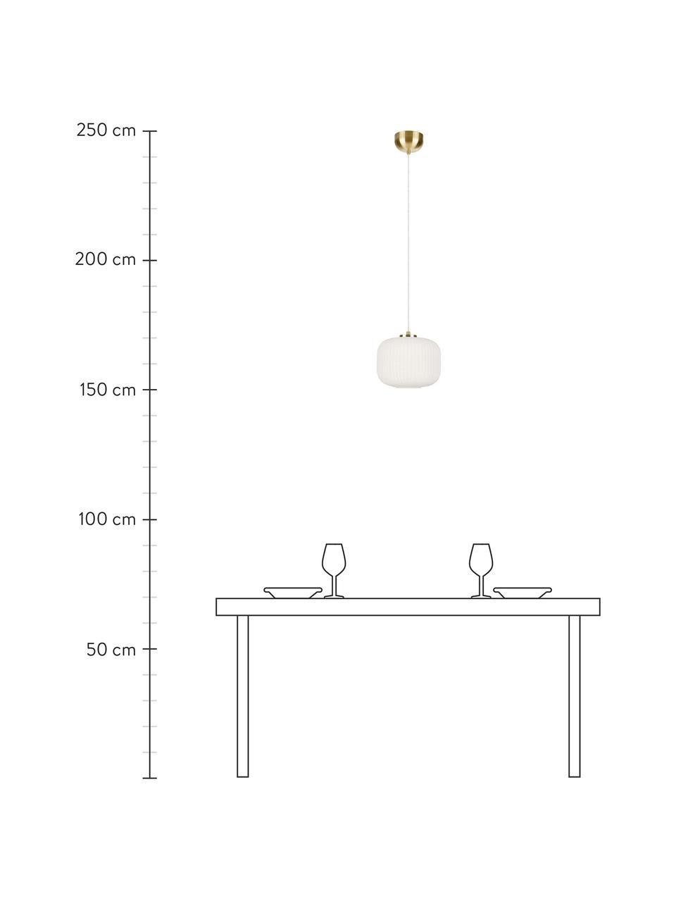Kleine Pendelleuchte Sober mit Glasschirm, Lampenschirm: Glas, Baldachin: Metall, gebürstet, Dekor: Metall, gebürstet, Weiß, Ø 25 x H 22 cm
