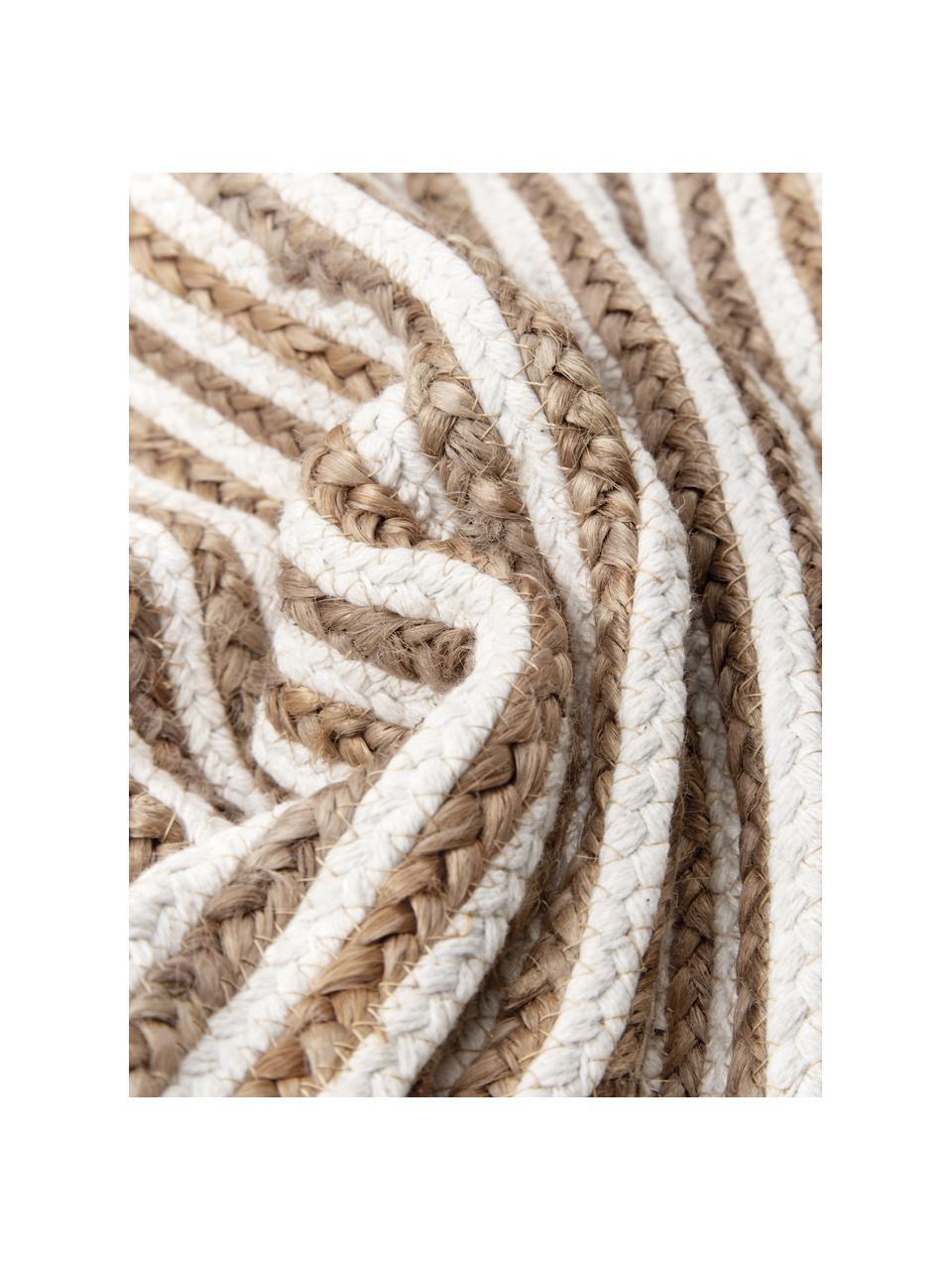 Gestreepte juten kussenhoes Faeka, Beige, wit, 40 x 40 cm