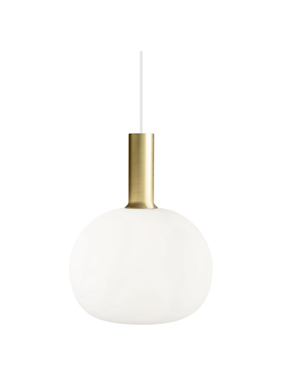 Kleine Pendelleuchte Alton aus Opalglas, Lampenschirm: Opalglas, Baldachin: Kunststoff, Messing, Weiß, Ø 25 x H 33 cm