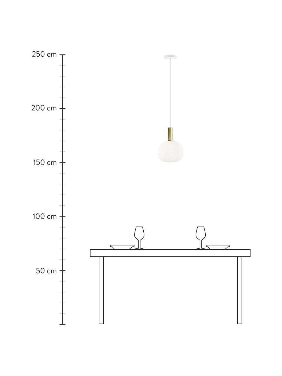 Lampa wisząca ze szkła opalowego Alton, Mosiądz, biały, Ø 25 x W 33 cm