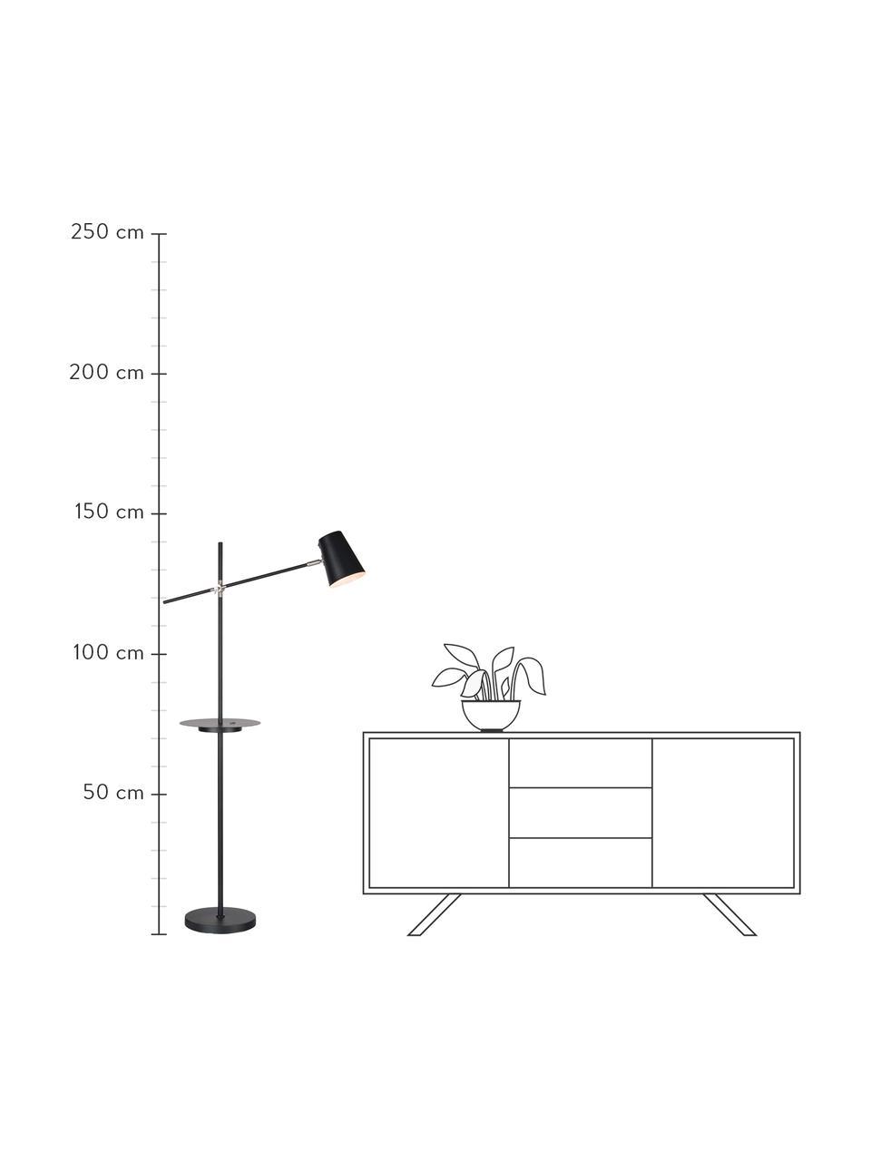 Lampka do czytania z półką i stacją ładującą Linear, Czarny, S 28 x W 144 cm