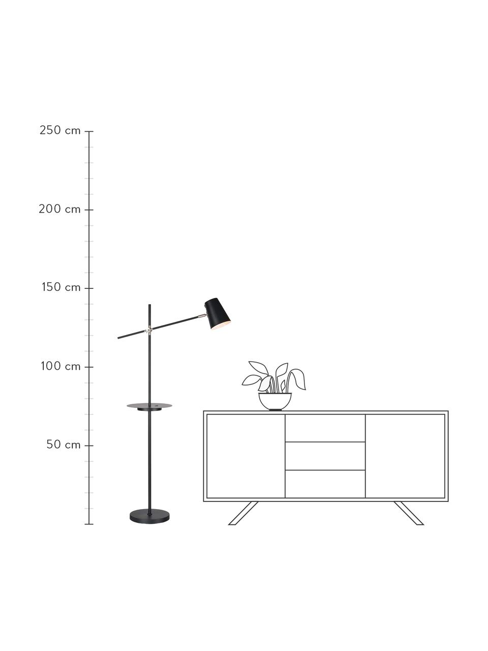 Lampada da lettura con mensola e connessione USB Linear, Paralume: metallo rivestito, Base della lampada: metallo rivestito, Decorazione: acciaio spazzolato, Nero, Larg. 28 x Alt. 144 cm