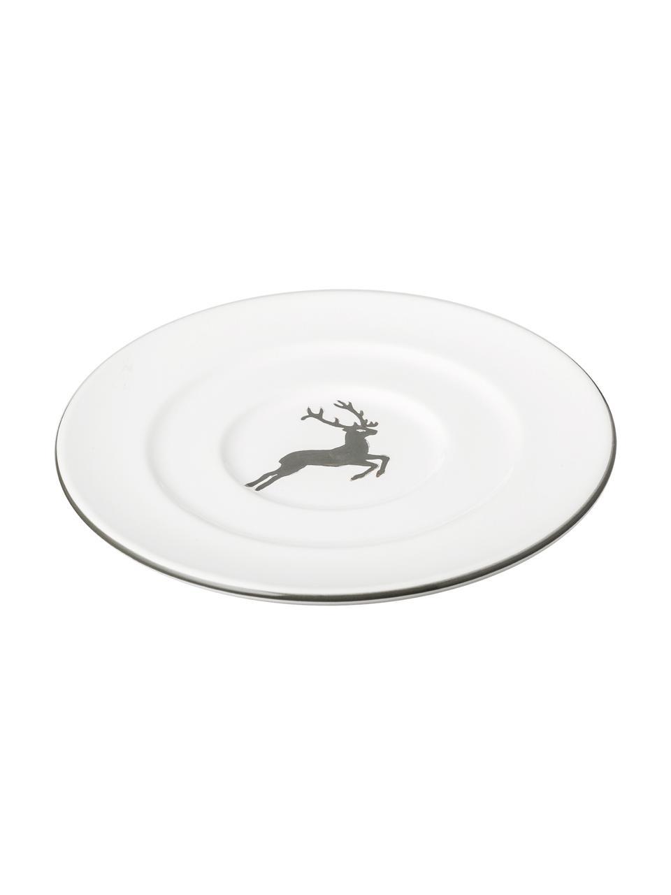 Handbemalte Untertasse Gourmet Grauer Hirsch, Keramik, Grau,Weiß, Ø 16 cm
