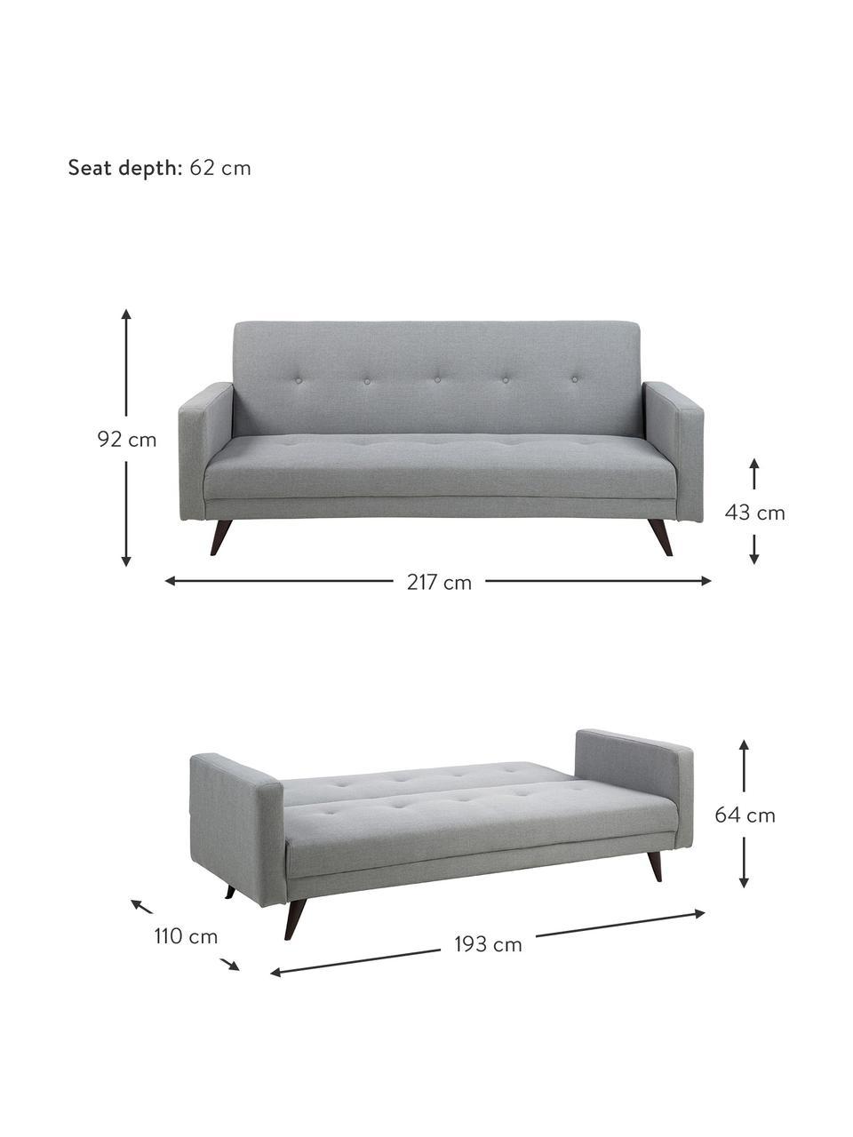 Sofa rozkładana Leconi (3-osobowa), Tapicerka: poliester, Nogi: drewno kauczukowe, lakier, Jasny szary, S 217 x G 89 cm