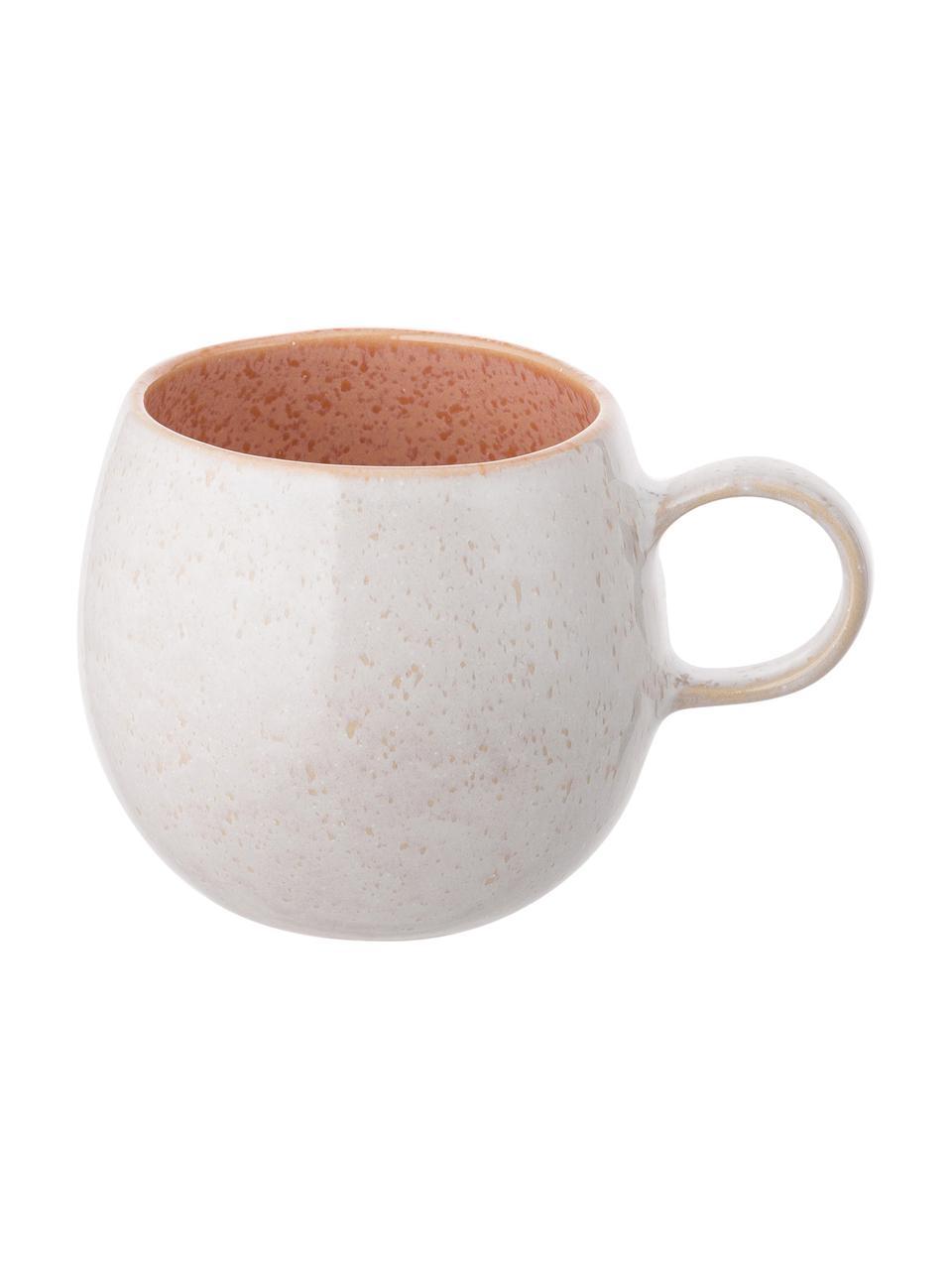 Tasse à thé peinte à la main Areia, 2pièces, Tons rouges, blanc cassé, beige clair