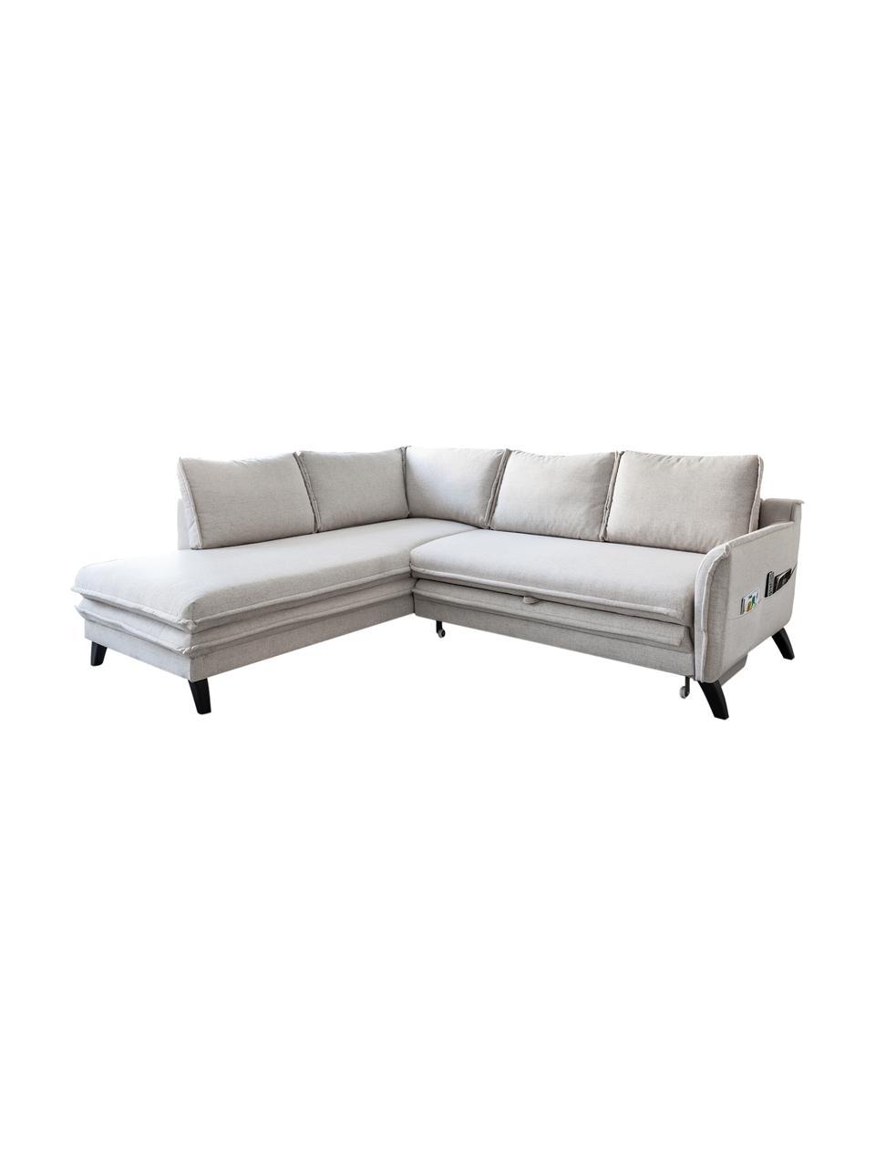 Sofa narożna z funkcją spania Charming Charlie, Tapicerka: 100% poliester, w dotyku , Stelaż: drewno naturalne, płyta w, Beżowy, S 230 x G 200 cm