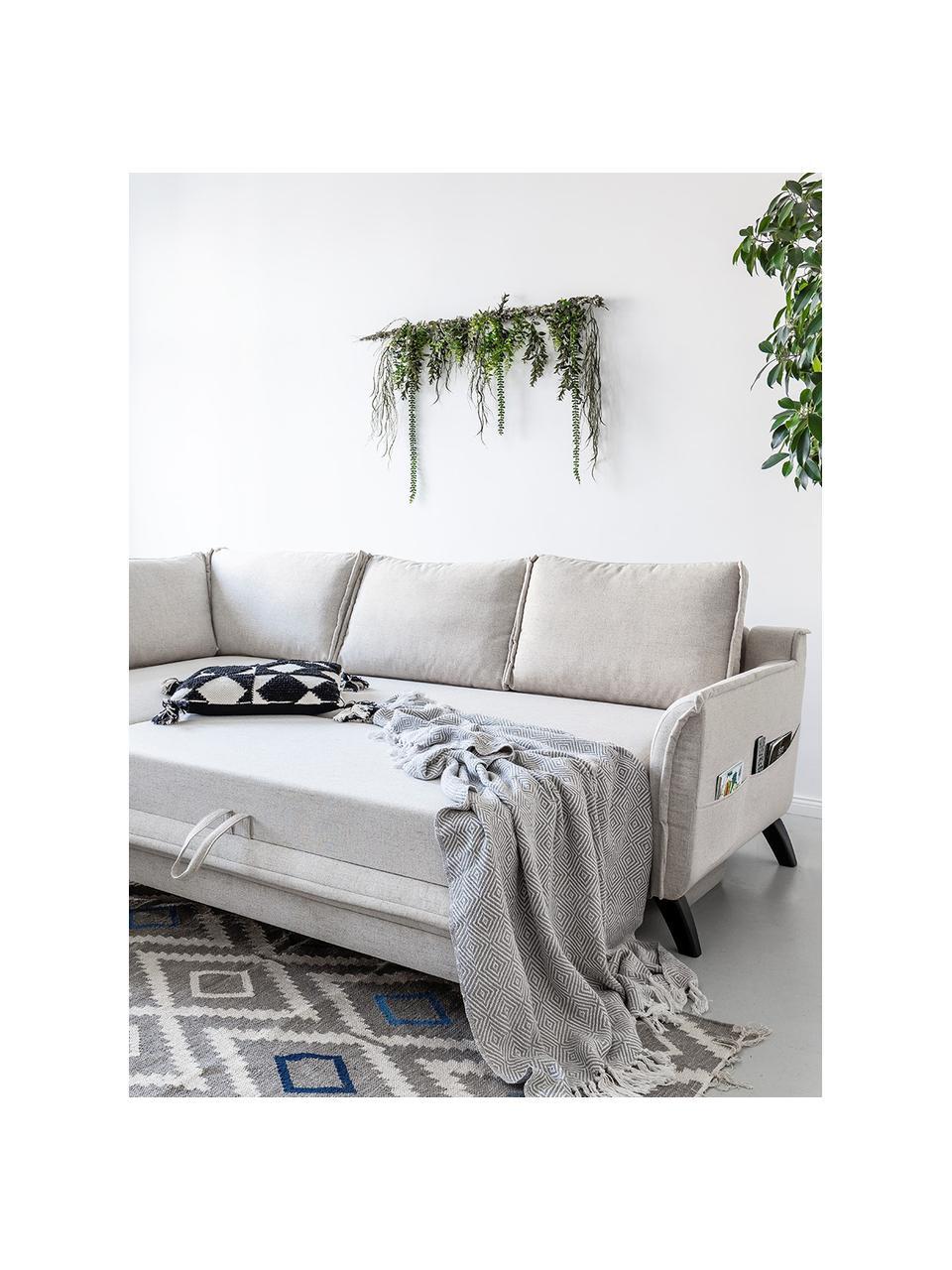 Divano letto angolare in tessuto beige Charming Charlie, Rivestimento: 100% poliestere con sensa, Struttura: legno, truciolato, Beige, Larg. 230 x Prof. 200 cm