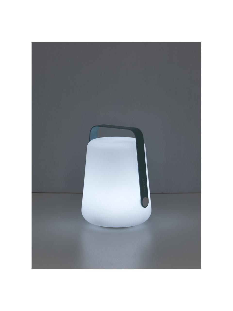 Mobile Dimmbare Außentischlampe Balad, Lampenschirm: Polyethen, für den Außenb, Griff: Aluminium, lackiert, Lagunenblau, Ø 19 x H 25 cm