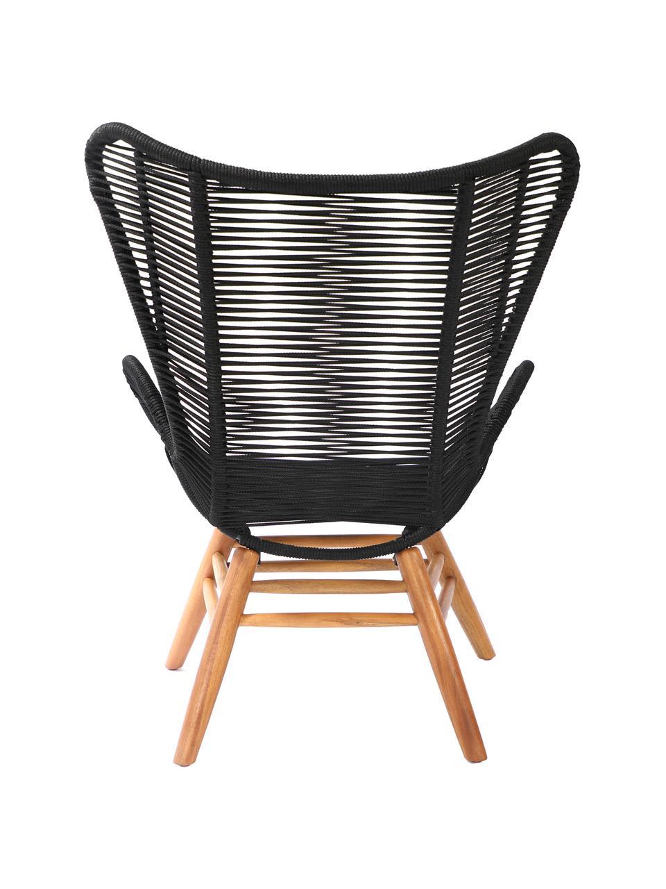 Fotel uszak z drewnianymi nogami Tingeling, Nogi: drewno akacjowe, Czarny, beżowy, S 72 x G 78 cm
