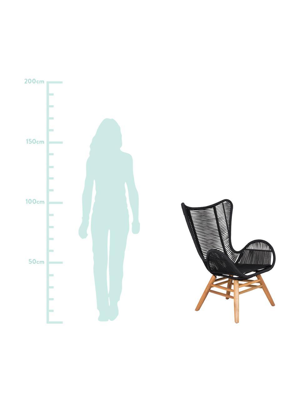 Poltrona nera con gambe in legno Tingeling, Sottostruttura: metallo, Piedini: legno di acacia, Nero, beige, Larg. 72 x Prof. 78 cm