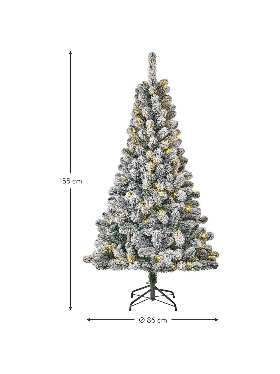 Albero di Natale innevato con luci LED Millington, nevicato, Verde, ghiacciato, Ø 86 x Alt. 155 cm