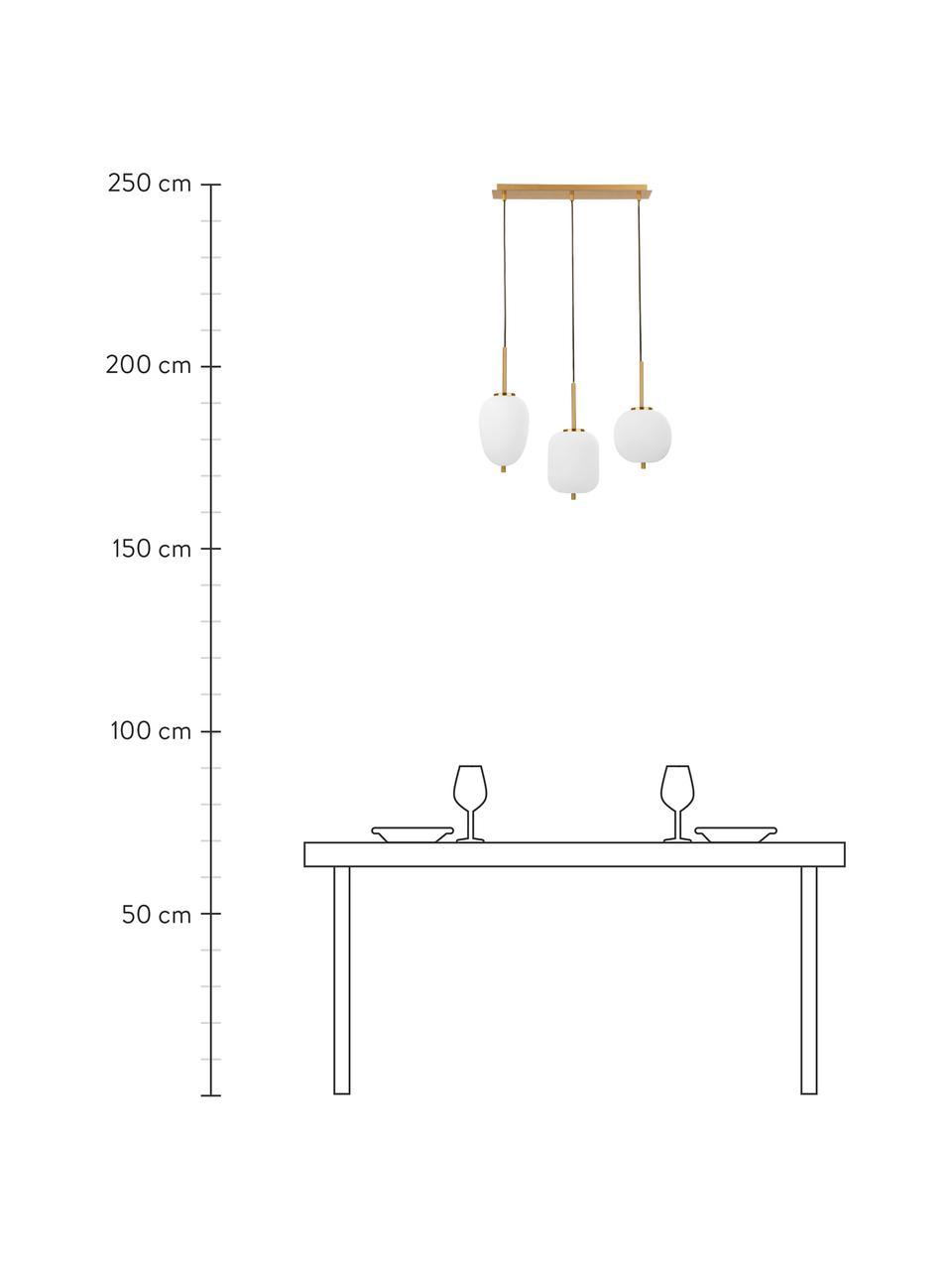 Pendelleuchte Lato aus Glas, Dekor: Metall, beschichtet, Baldachin: Metall, beschichtet, Weiß, Goldfarben, 53 x 120 cm