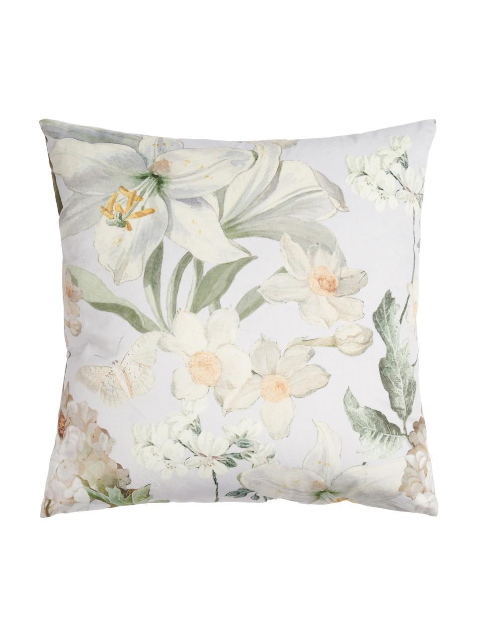 Fluwelen kussen Rosalee met bloemenpatroon, met vulling, Polyester fluweel, Lichtgrijs, wit, beige- en groentinten, 50 x 50 cm