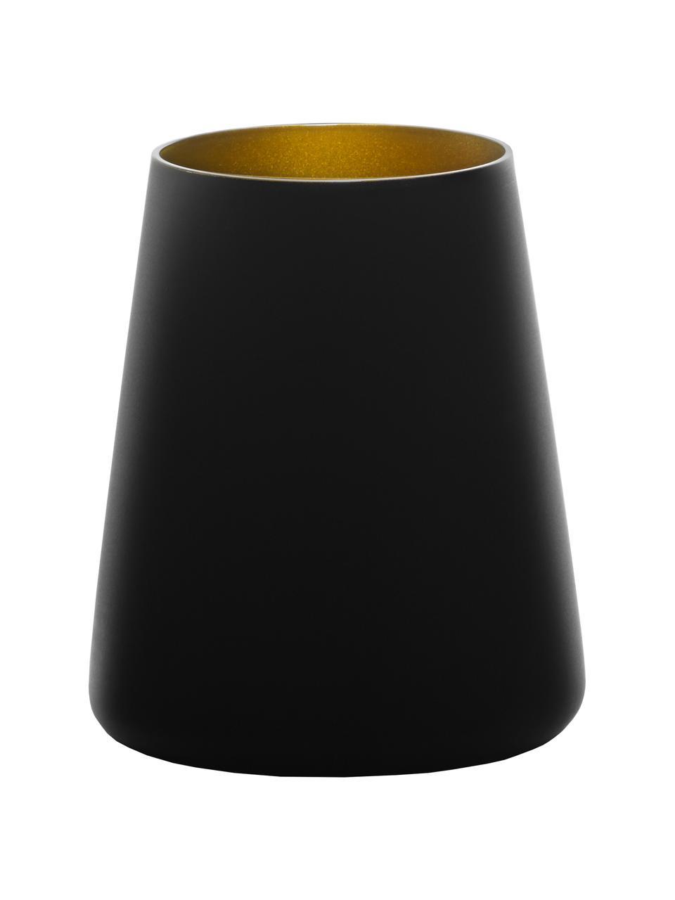 Kegelförmige Kristall-Cocktailgläser Power in Schwarz/Gold, 6 Stück, Kristallglas, beschichtet, Schwarz, Goldfarben, Ø 9 x H 10 cm