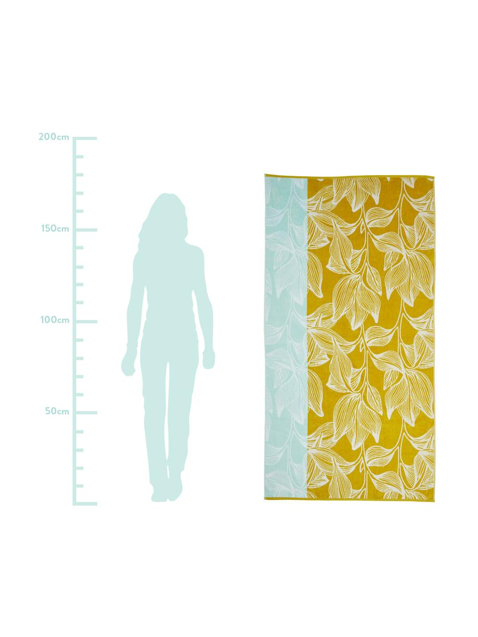 Ręcznik plażowy Mimosa, Żółty, jasny niebieski, S 100 x D 180 cm