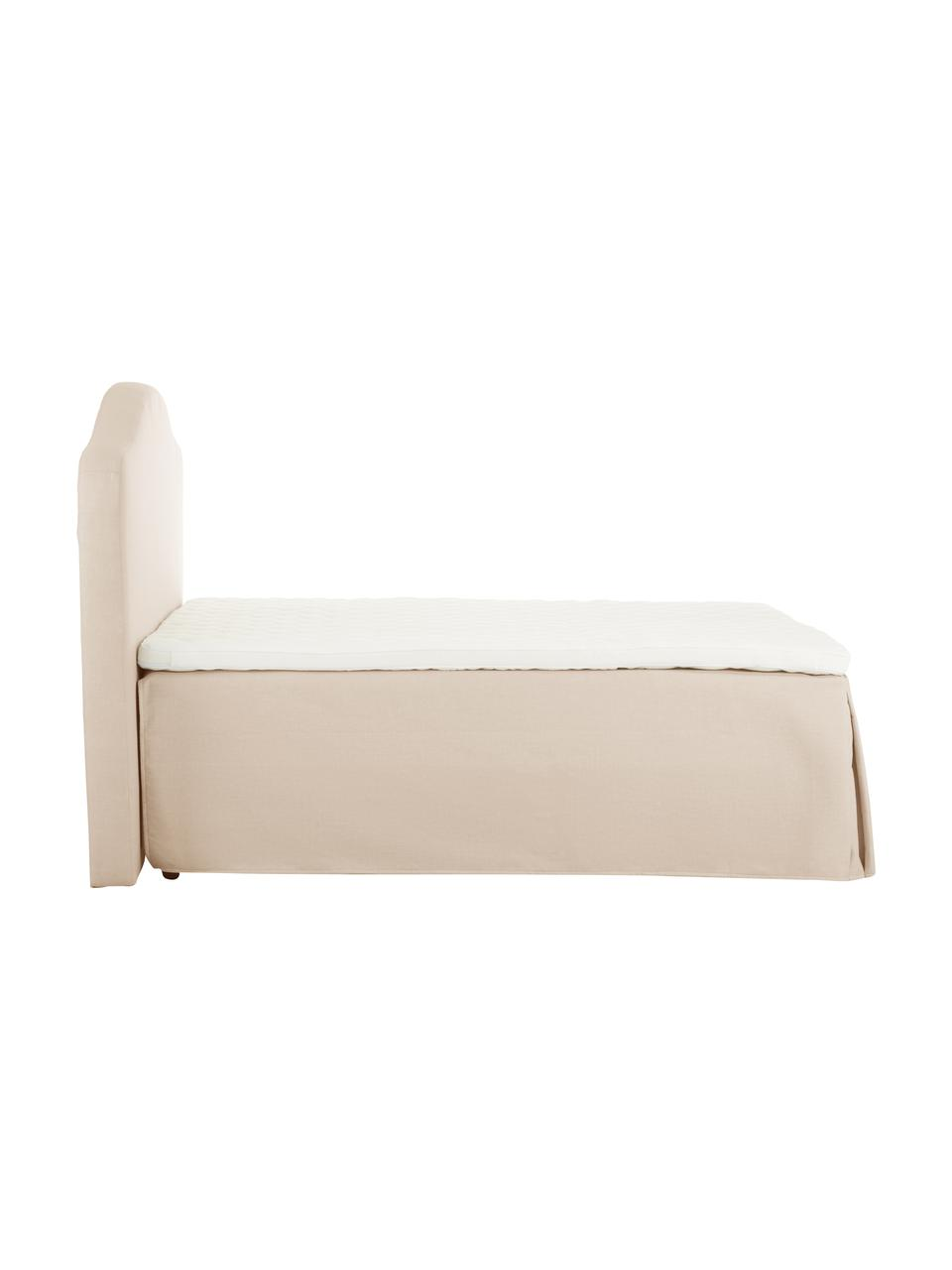 Premium Boxspringbett Dahlia in Beige, Matratze: 5-Zonen-Taschenfederkern , Füße: Massives Birkenholz, lack, Beige, 140 x 200 cm
