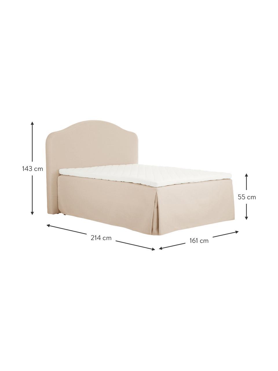 Letto boxspring premium in tessuto beige Dahlia, Materasso: nucleo a 5 zone di molle , Piedini: legno massiccio di betull, Beige, 140 x 200 cm