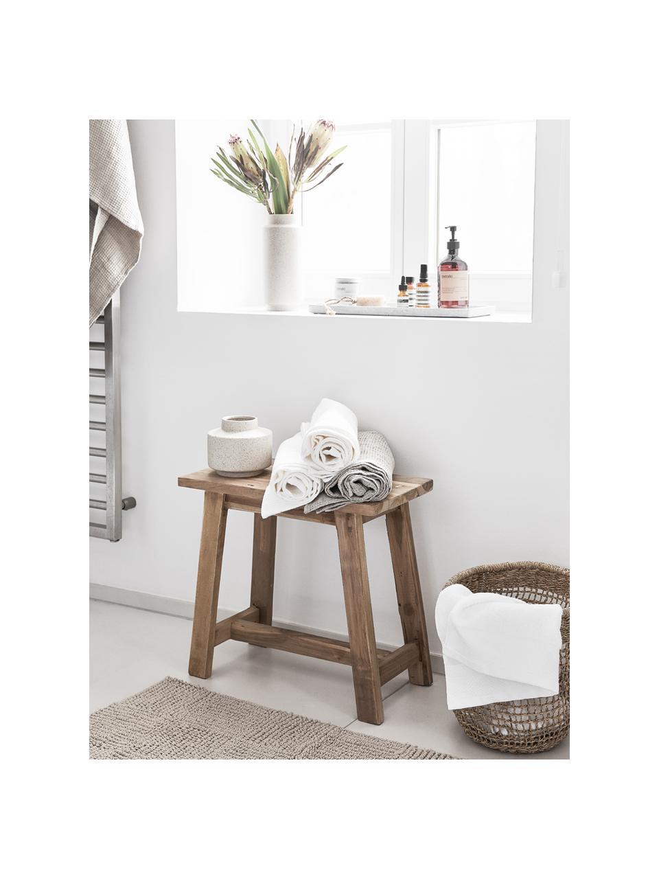Stołek z drewna tekowego z recyklingu Lawas, Naturalne drewno tekowe, Drewno tekowe, S 50 x W 46 cm