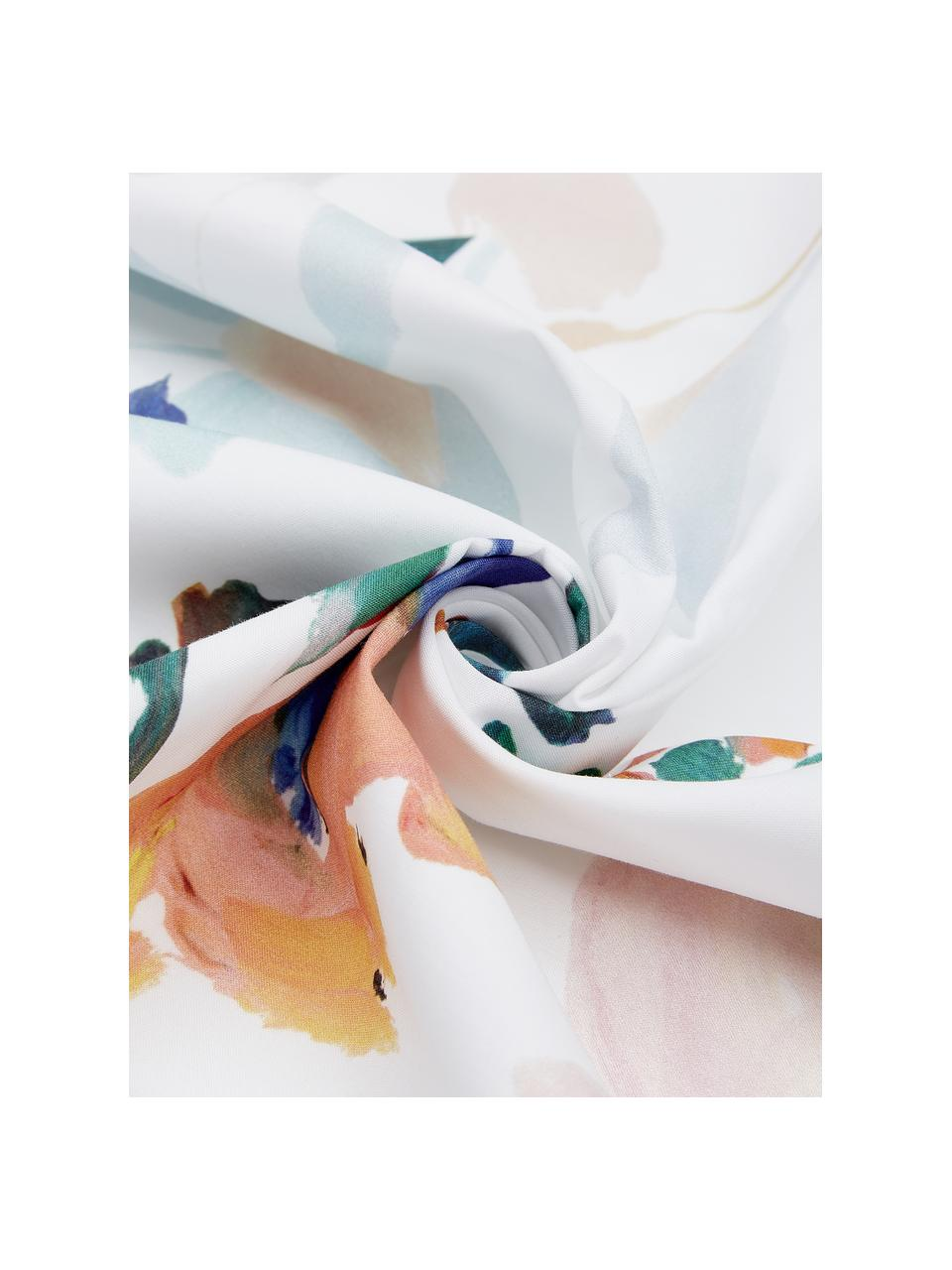 Baumwollperkal-Bettwäsche Steffi mit Blumenprint, Webart: Perkal Fadendichte 180 TC, Mehrfarbig, 135 x 200 cm