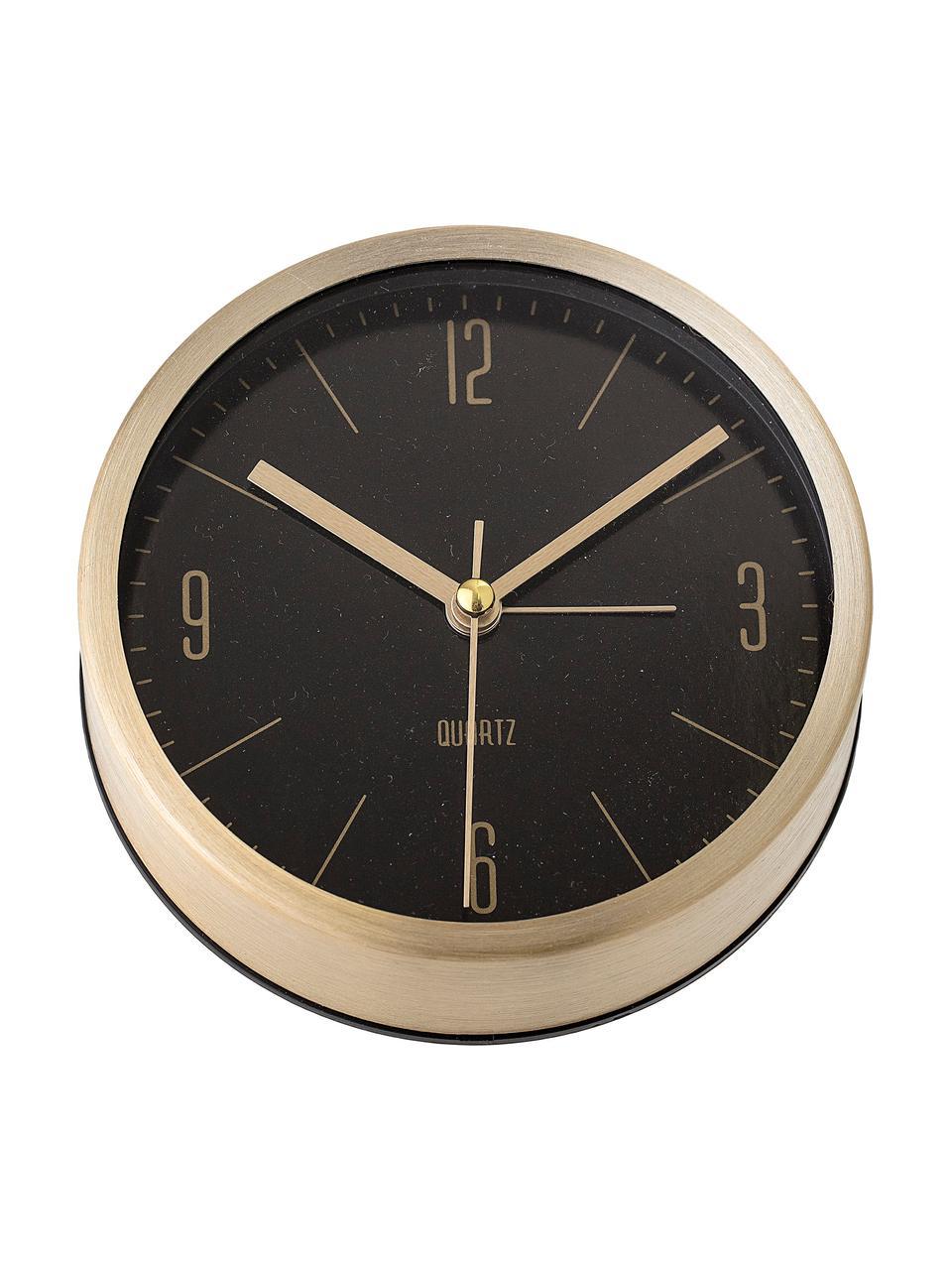 Sveglia Waldo, Cornice: alluminio verniciato, Ottone, nero, Larg. 12 x Alt. 12 cm
