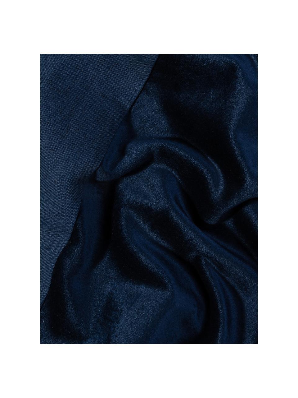 Kissenhülle Adelaide aus Samt/Leinen in Dunkelblau, Dunkelblau, 40 x 40 cm
