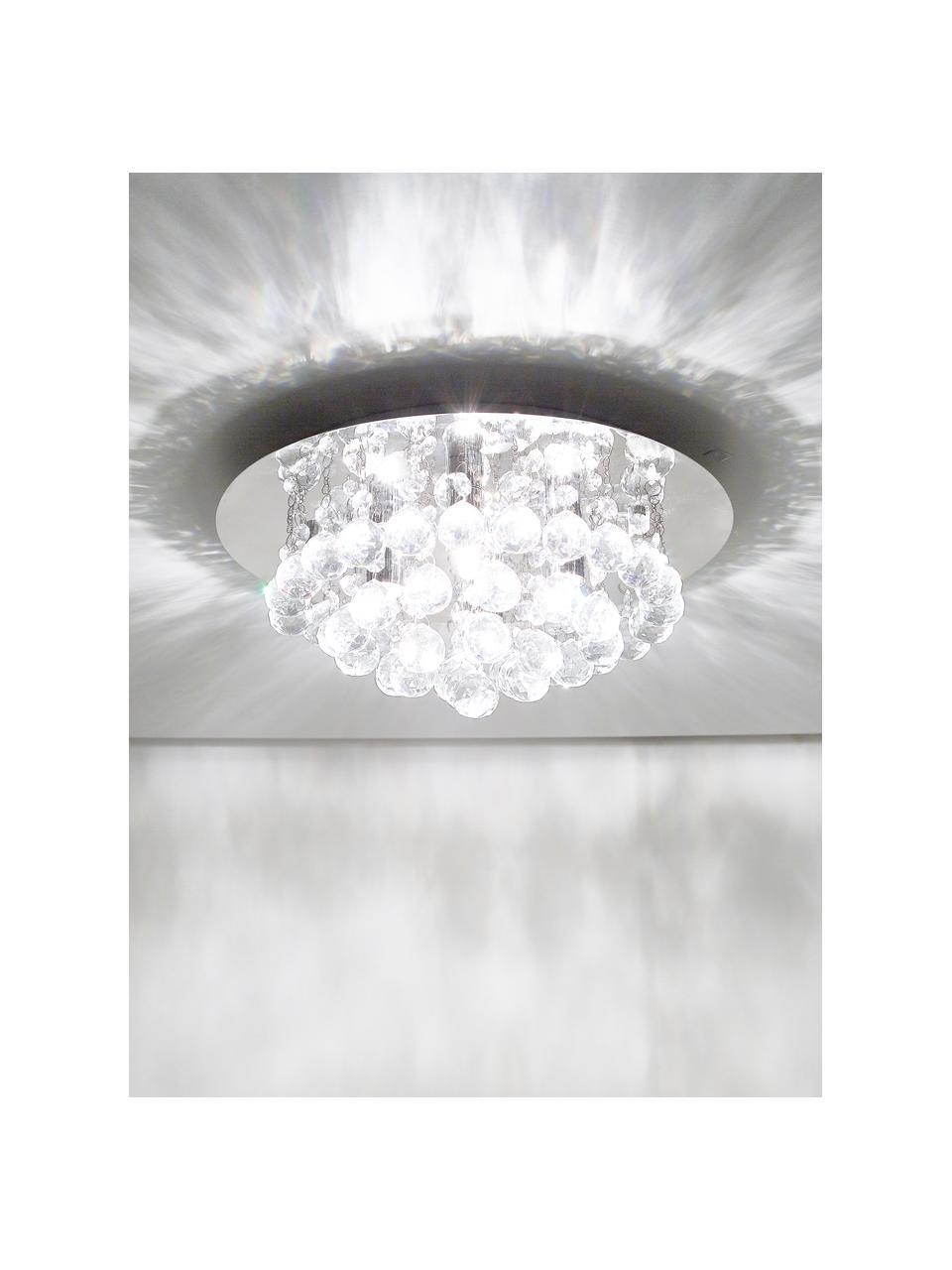 Lampada con cristalli in vetro Hanna, Baldacchino: metallo cromato, Decorazione: vetro, Argento, Ø 45 x Alt. 20 cm