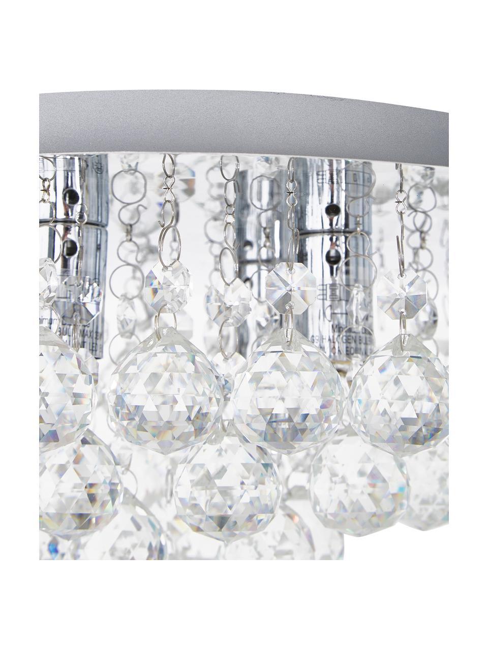 Kristall-Deckenleuchte Helena, Baldachin: Metall, verchromt, Dekor: Glas, Silber, Ø 45 x H 20 cm
