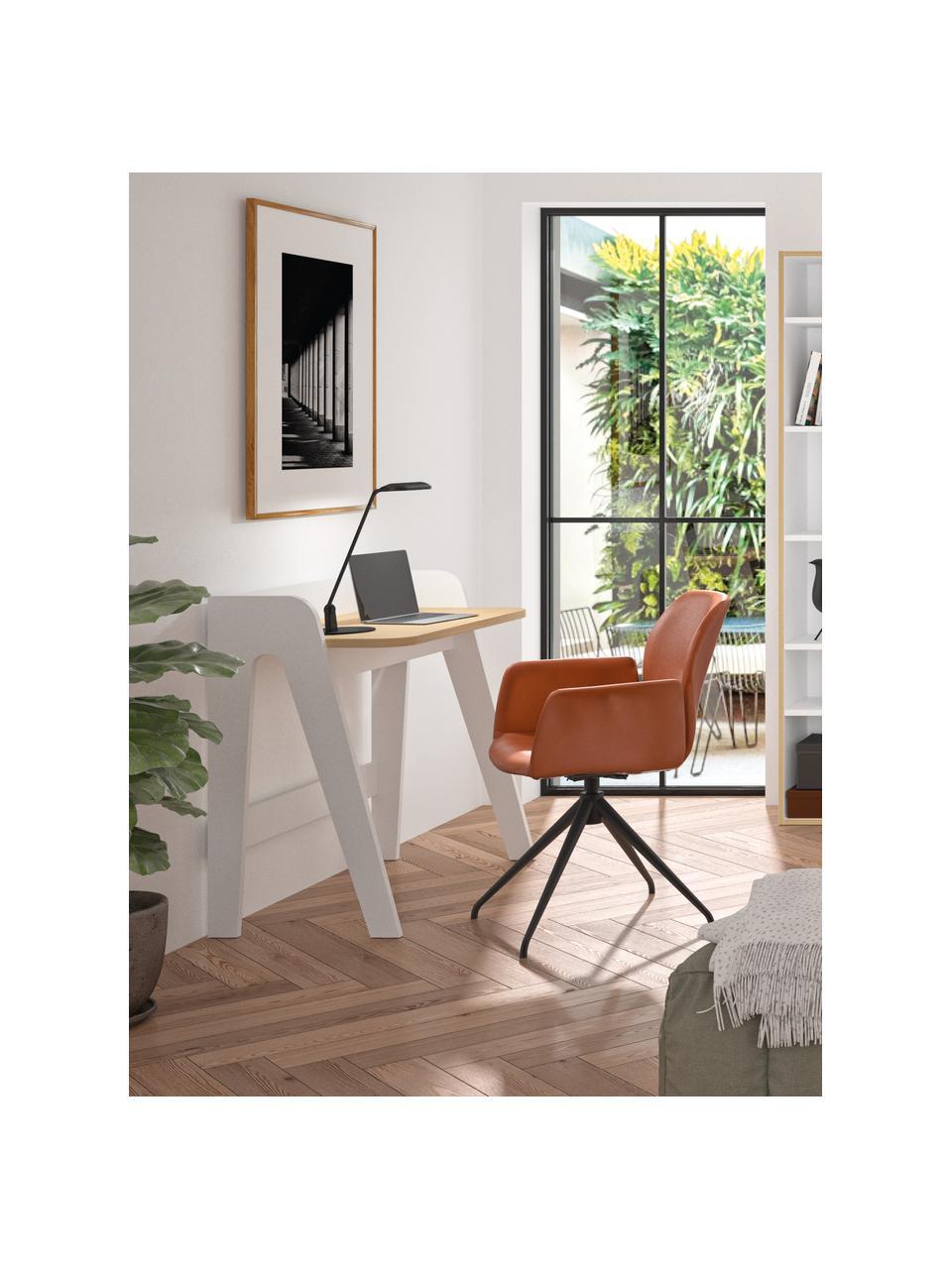 Scandi bureau Fiore, Frame: gelakt MDF, Tafelblad: MDF met eikenhoutfineer, Wit, bruin, 91 x 49 cm