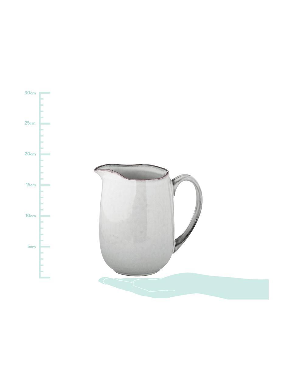 Handgemachter Milchkrug Nordic Sand aus Steingut, 1 L, Steingut, Sand, 17 x 16 cm