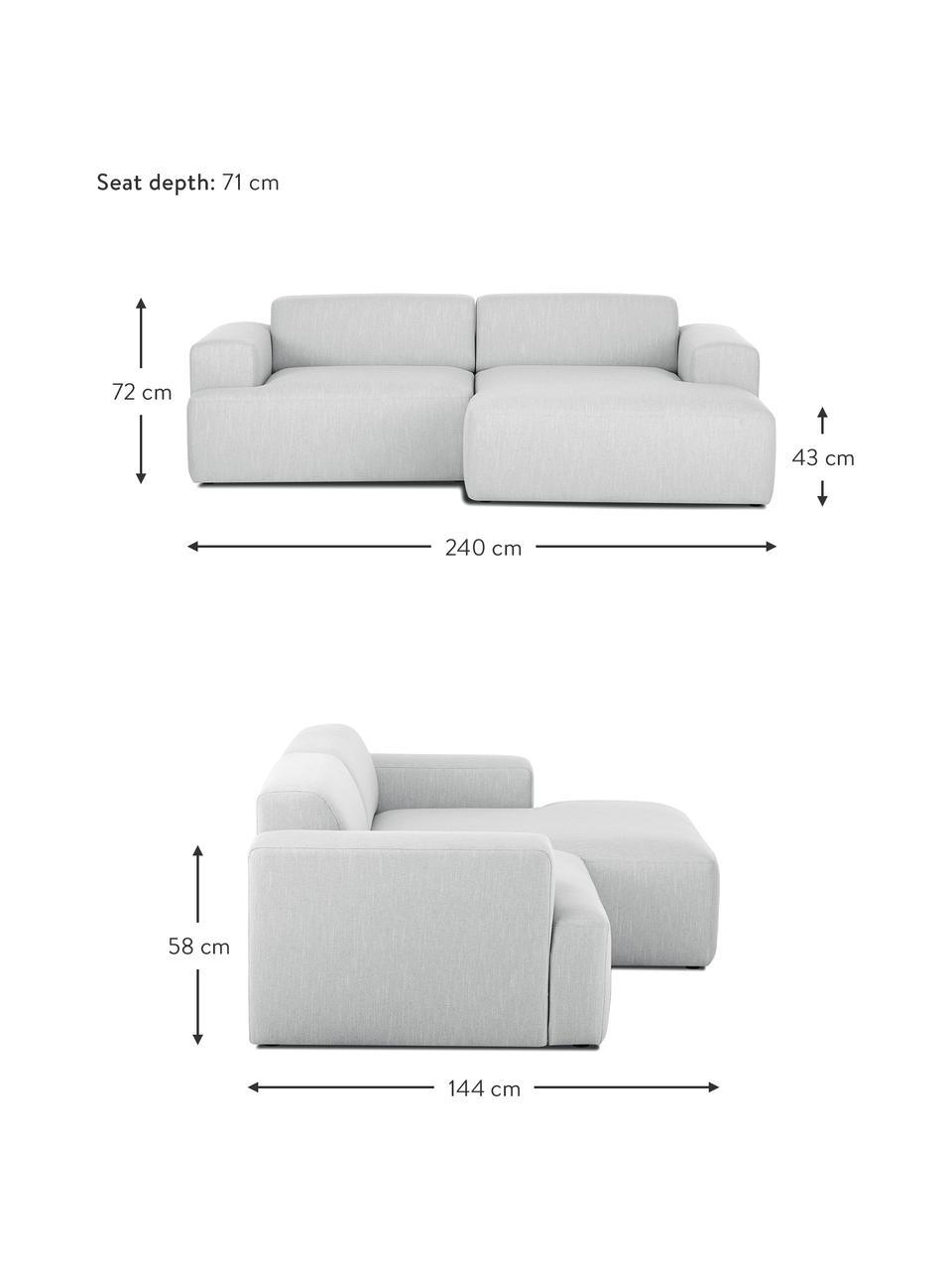 Ecksofa Melva (3-Sitzer) in Hellgrau, Bezug: Polyester Der hochwertige, Gestell: Massives Kiefernholz, Spa, Webstoff Hellgrau, B 240 x T 144 cm