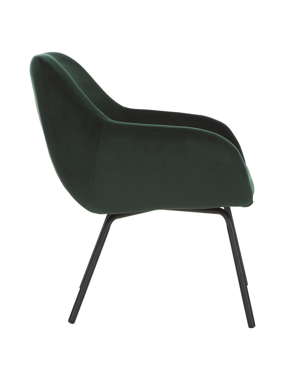 Fotel koktajlowy z aksamitu Jana, Tapicerka: aksamit (poliester) Dzięk, Nogi: metal malowany proszkowo, Aksamitny ciemny zielony, S 72 x G 68 cm